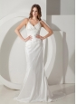 Low Cost Column / Sheath Halter Wedding Dress Brush / Sweep Taffeta Ruched