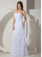 Low Cost Empire Strap Wedding Dress Brush / Sweep Chiffon Ruched