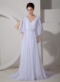 Low Cost Empire V-neck Wedding Dress Brush Train Chiffon Appliques