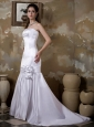 Low Cost Mermaid Strapless Wedding Dress Court Train Satin Hand Made Flower