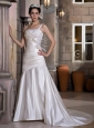 Modest A-line One Shoulder Wedding Dress Chapel Train Taffeta Appliques and Ruch