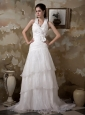 Pretty A-line Halter Wedding Dress Court Train Taffeta and Organza Hand Made Flower