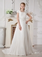 Romantic A-line Square Beading Wedding Dress Court Train Chiffon