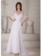 Sexy Column / Sheath V-neck Wedding Dress Court Train Lace
