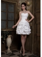 Simple A-line Sweetheart Short Wedding Dress Taffeta Ruch and Pick-ups Mini-length