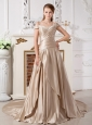 The Super Hot Champagne Off The Shoulder Appliques Wedding Dress Court Train Satin
