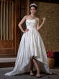 Unique Wedding Dress A-line Hand Made Flowers Sweetheart Court Train Taffeta Ruch