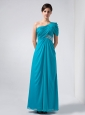 Beautiful Baby Blue Column One Shoulder Homecoming Dress Ankle-length Chiffon Beading