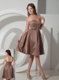 Beautiful Brown A-line Strapless Cocktail Dress Knee-length Satin Beading