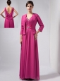 Beautiful Hot Pink Column Mother Of The Bride Dress V-neck Ankle-length Chiffon Beading