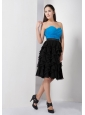 Custom Made Sky Blue and Black A-line Prom / Cocktail Dress Sweetheart Knee-length Chiffon Ruch and Ruffles