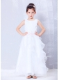 Custom Made White A-line Scoop Beading Flower Girl Dress Ankle-length Organza