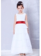 Custom Made White and Red A-line Scoop Sash Flower Girl Dress Ankle-length Chiffon