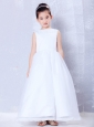 Fashionable White A-line Bateau Beading Flower Girl Dress Ankle-length Organza