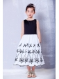 Glamorous White and Black A-line Scoop Embroidery Flower Girl Dress Tea-length Taffeta and Organza