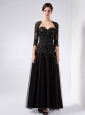 Gorgeous Black Mother Of The Bride Dress Column Sweetheart Ankle-length Tulle and Taffeta Beading