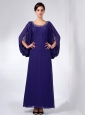 Modest Purple Mother Of The Bride Dress Column Scoop Beading Ankle-length Chiffon