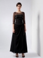 Popular Black Column Mother Of The Bride Dress Bateau Ankle-length Chiffon Beading