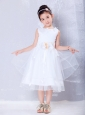 Pretty White A-line Scoop Hand Made Flowers Flower Girl DressTea-length Organza