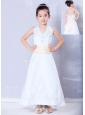 Sweet White A-line Halter Embroidery Flower Girl Dress Ankle-length Satin