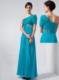 Teal Column Mother Of The Bride Dress One Shoulder Beading Ankle-length Chiffon