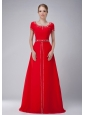 Beautiful Red Scoop Neckline Modest Mother Of The Bride Dress Chiffon Beading