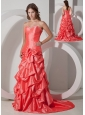 Best Watermelon A-line Sweetheart Bowknot Prom Dress Brush Train Taffeta