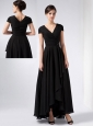 Brand New Black A-line V-neck Sequins Mother Of The Bride Dress Ankle-length Chiffon