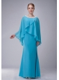 Custom Made Aqua Blue Column Scoop Mother Of The Bride Dress Chiffon Beading Floor-length