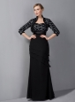 Custom Made Black Column Mother Of The Bride Dress Sweetheart Appliques Floor-length Chiffon