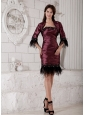 Custom Made Burgundy Mother of the Bride Dress Rhinestones and Ruch Column Strapless Knee-length Taffeta
