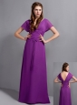 Custom Made Eggplant Purple Column Mother Of The Brides Dress V-neck Ruch Floor-length Chiffon