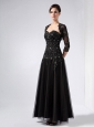 Customize Black Column Sweetheart Beading Prom Dress Ankle-length Tulle and Taffeta