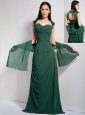 Customize Dark Green Column Mother Of The Brides Dress Sweetheart Ruch Brush Train Chiffon