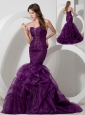 Customize Purple Trumpet / Mermaid Sweetheart  Beading Prom Dress Court Train Organza
