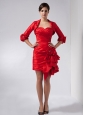 Customize Red Column Sweetheart Mini-length Taffeta Hand Made Flowers Prom Dress