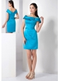 Customize Teal Column Mother Of The Brides Dress Off The Shoulder Mini-length Satin