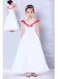 Customize White and Red A-line Scoop Embroidery Flower Girl Dress Ankle-length Satin and Organza