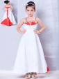 Customize White and Red A-line Straps Embroidery Flower Girl Dress Ankle-length Satin
