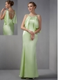 Elegant Spring Green Mother Of The Brides Dress Column Scoop Beading Floor-length Elastic Woven Satin