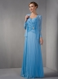 Elegant Teal Empire Mother Of The Bride Dress Straps Appliques Floor-length Chiffon