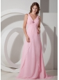 Exquisite Baby Pink Empire V-neck Beading Prom Dress Brush Train Chiffon