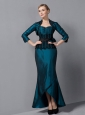 Exquisite Turquoise Mermaid Mother Of The Bride Dress Sweetheart Sash Ankle-length Taffeta
