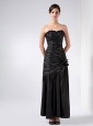 Fashionable Black Column Strapless Beading Prom Dress Ankle-length Taffeta