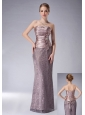 Fashionable Lilac Column Strapless Mother Of The Bride DressLace Ruch Floor-length