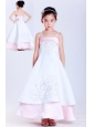 Fashionable White and Pink A-line Straps Embroidery Flower Girl Dress Ankle-length Taffeta and Satin