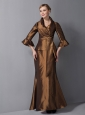 Gorgeous Brown Column Mother Of The Bride Dress V-neck Ankle-length Taffeta