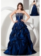 Informal Royal Blue A-line Strapless Floor-length Taffeta Appliques Prom Dress