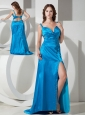 Low Price Sky Blue Column / Sheath Straps Beading Prom Dress Brush / Sweep Taffeta