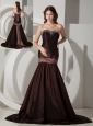 Luxurious Brown Mermaid / Trumpet Sweetheart Brush / Sweep Taffeta Beading Prom Dress